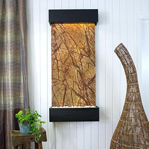 Water Wonders Large Nojoqui Falls Rainforest Brown Marble with Black Onyx Trim