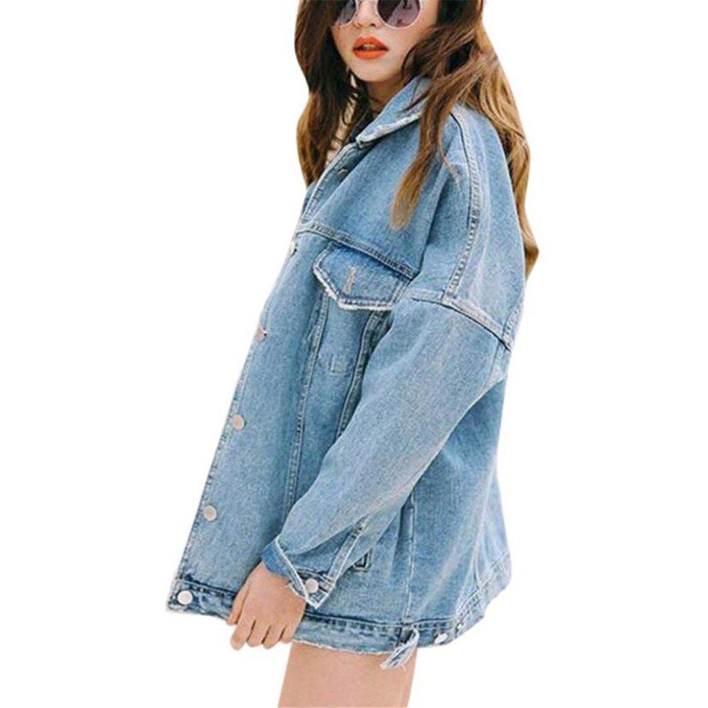 Kimloog Women Boyfriend Denim Jacket Long Sleeve Lapel Jeans Coat Outwear (M, Blue)