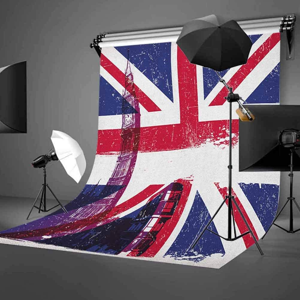 8x12 FT Union Jack Vinyl Photography Backdrop,Grungy Aged UK Flag Big Ben Double Decker Country Culture Historical Landmark Background for Baby Birthday Party Wedding Graduation Home Decoration