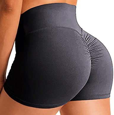 SEASUM Womens Seamless Yoga Shorts High Waist Tummy Control Workout Yoga Gym Shorts Compression Hot Pants
