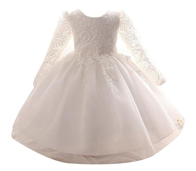 Niñas Princesa Vestidos de manga larga de Fiesta de Cóctel Organza Swing Vestido 100cm Blanco