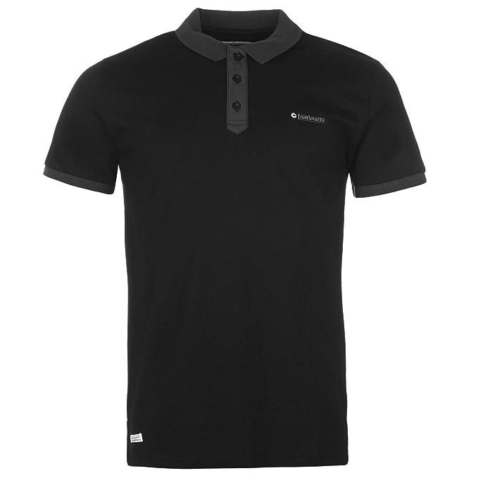 Lambretta Placket - Polo para Hombre Negro Cuello Camiseta Top T ...
