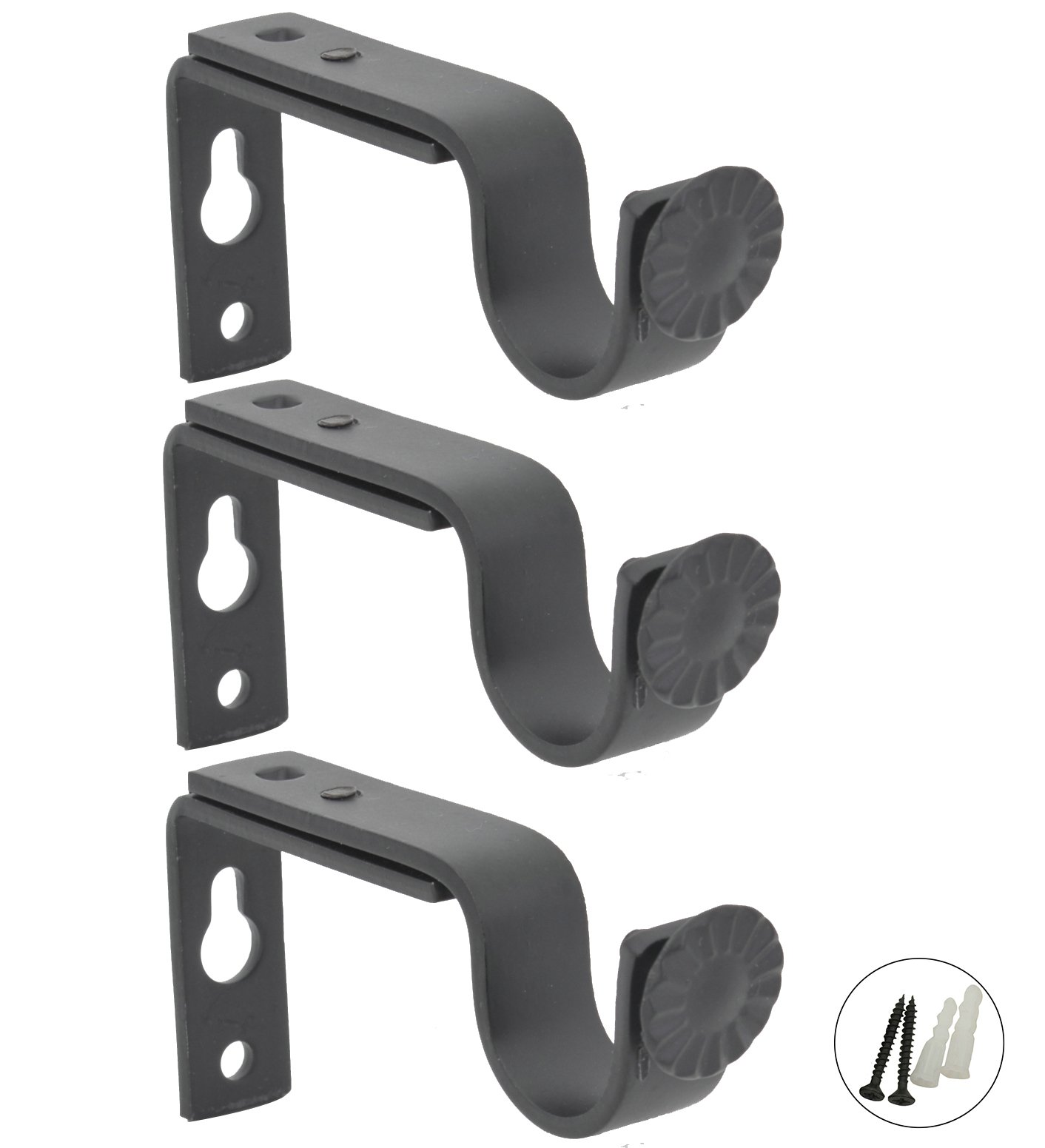 AddGrace Adjustable Curtain Rod Brackets Outside Prime Mounted Blinds Curtain Rod Holder Attachment (Black) Set of 3
