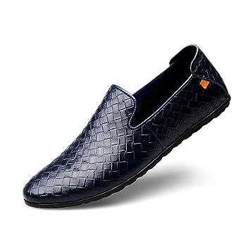 Zapatos de Hombre Cuero Primavera/Verano Comodidad/Casual Mocasines y Slip-Ons Ciclismo Zapatos/Zapatos para Caminar Negro/marrón / Azul (Color : Azul, ...