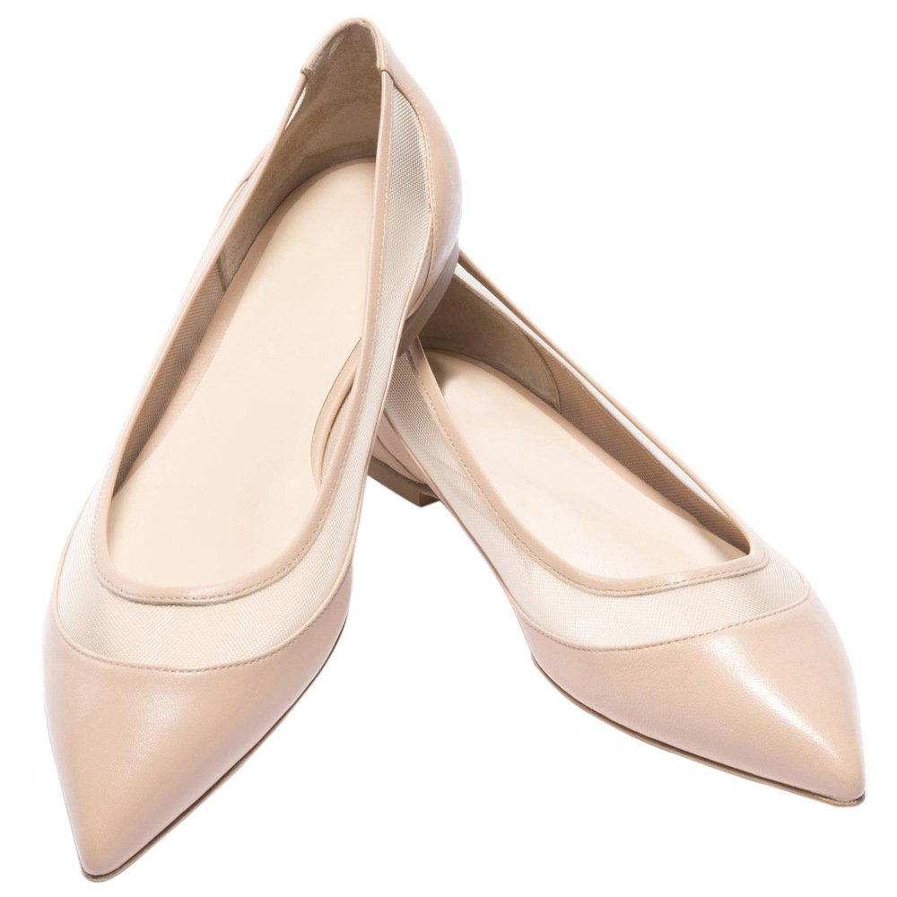 DYF Damenschuhe Farbe Größe scharfe flache Unterseite Net Garn Nähen Nähen Nähen Apricot Farbe 44 5e9bd1
