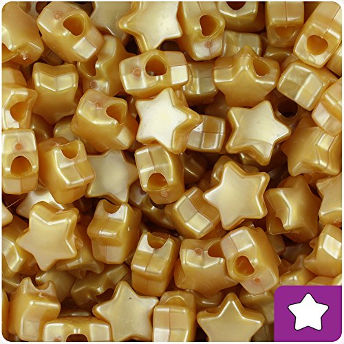 BeadTin Gold Pearl 13mm Star Pony Beads (250pcs)]()