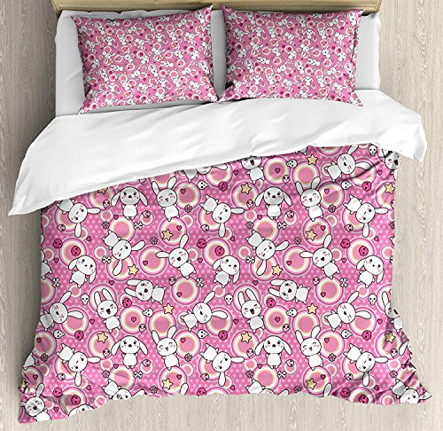 Lightweight Microfiber Duvet Cover Set with Zipper Closure Cartoon Animal Doodle Cute Kawaii Illustration Stars Hearts Bones Flower Girls Design Printed Bedding Collection Pink Peach White, ()