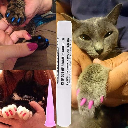 Cubiertas de uñas para mascotas, perros, gatos, garras, patas de gel, protector de pegamento adhesivo suave: Amazon.es: Hogar