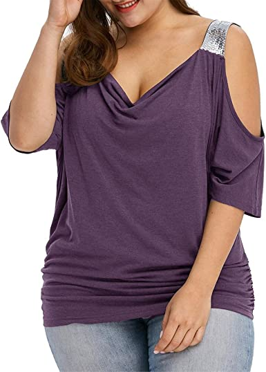 Auifor Mujeres de Talla Grande Suelta Camisa de Manga Corta Ocasional Tops Blusa Tops: Amazon.es: Ropa y accesorios
