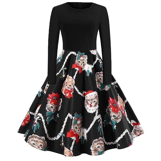 56982470ce K-youth Vestido Navidad Mujer Elk Impresión Vestido de Swing de Navidad  Vintage Elegantes Vestidos