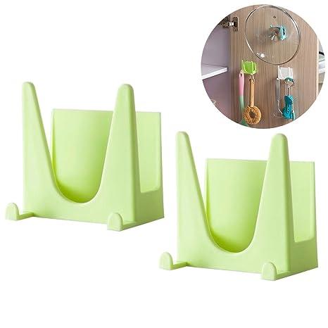 2 soportes de pared para colgar objetos, organizador para cocina de OUNONA, color verde