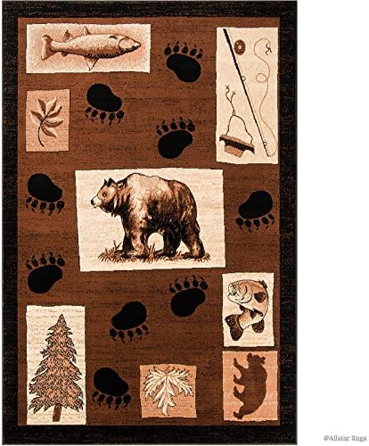 Allstar 8×11 Brown Cabin Rectangular Accent Rug with Mocha and Ivory Wildlife Bear Paw Print Design 7 6 x 10 5