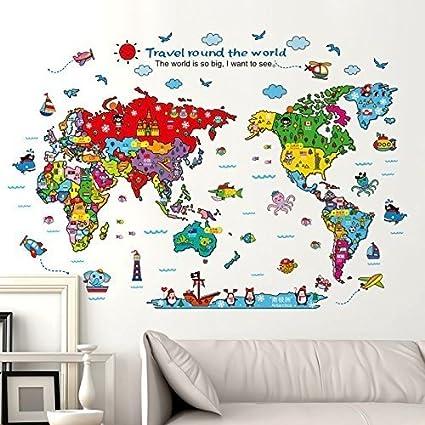 Amazon.com: Cartoon Background Colorful English Words World Map Wall ...