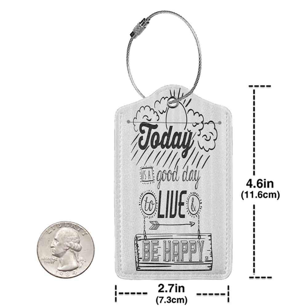 Flexible luggage tag Quote Funny Decor Today is a Good Day to Live Be Happy Enjoy Reminding Gratitude Inspire Vision Image Fashion match Black White W2.7 x L4.6