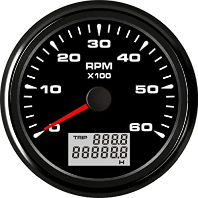 ELING Tachometer Tacho Gauge 6000RPM for Auto Marine Yacht Vehicle with 8 Colors Backlight 85mm 9-32V: Automotive