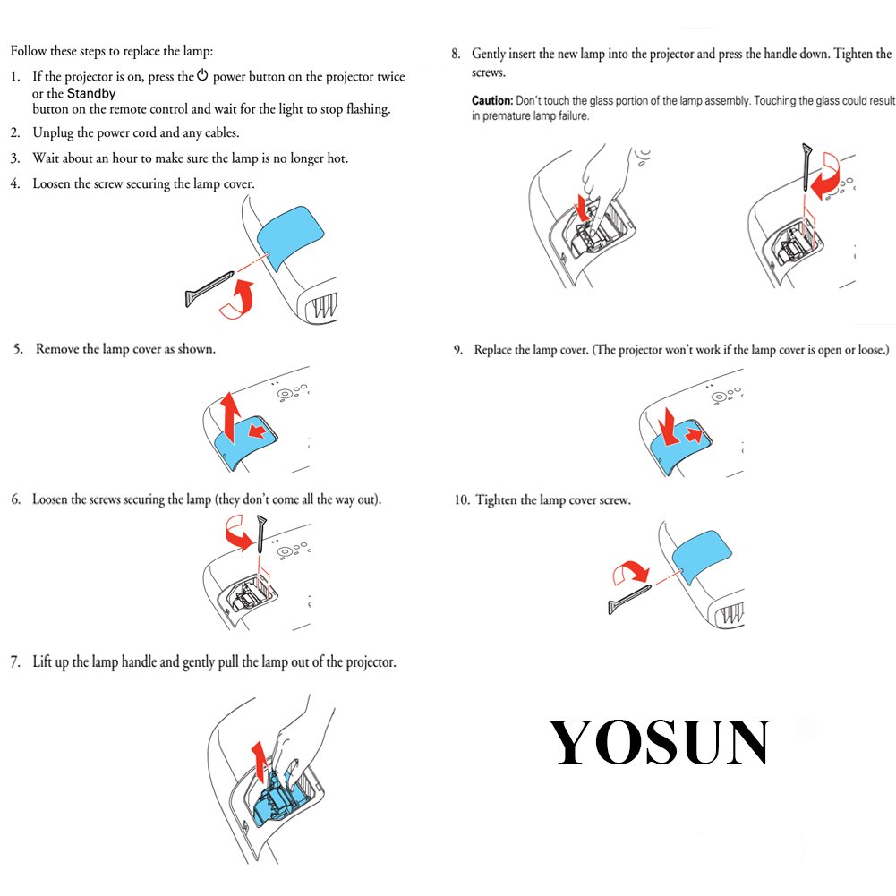 YOSUN Replacement Projector Lamp Bulb for Epson Elplp69 PowerLite Home Cinema 5020ub 5030ub 5025ub 5020ube 5030ube 5010E Pro Cinema 6030ub 6020UB 6010 4030 v13h010l69 Replacement Projector Lamp Bulb by YOSUN (Image #6)