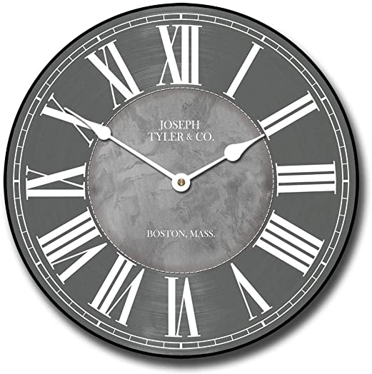Waterford Gray Wall Clock, Available in 8 Sizes, Most Sizes Ship The Next Business Day, Whisper Quiet.