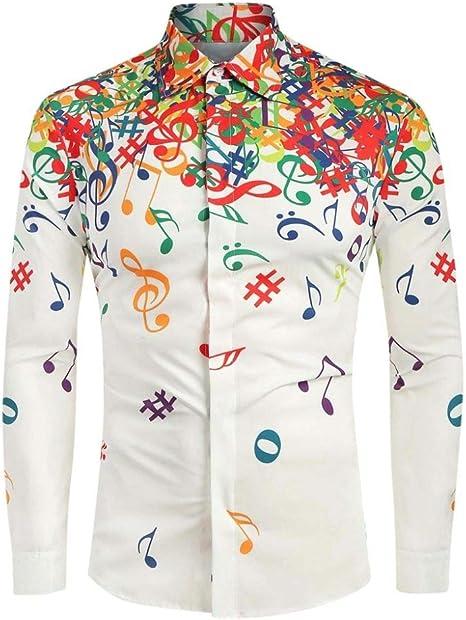 Wodechenshan Camisas Casual para Hombre,Otoño Hombres Camiseta Blanca Blusa Novedad Nota Musical Patrón Hombres Camiseta Manga Larga Casual Streetwear Masculino Top: Amazon.es: Deportes y aire libre