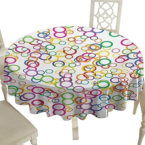 Cranekey Round Outdoor Round Tablecloth with 54 Inch Rainbow,Circles Rainbow Party Gatherings Spectrum Round Summertime Joy,Salmon Yellow Lavander Pink Great for,restauran & More -