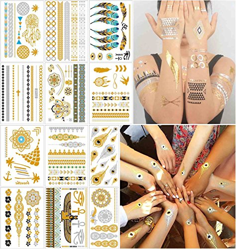 COKOHAPPY 12 Sheets Metallic Temporary Tattoo Gold Silver Over 150+ Shimmer Design Feathers Mandala Mehndi Armband for Women Teens Girls