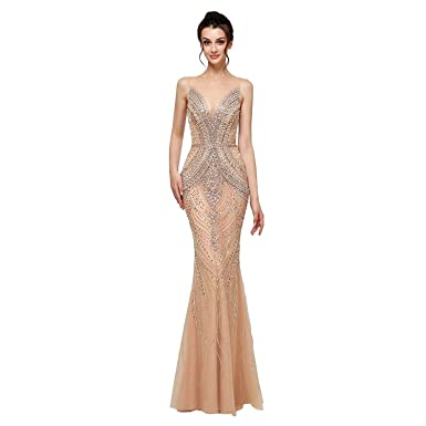 Datangep Women s Trumpet Prom Dresses Sheath Evening Gowns Crystal Bead  Sexy Pageant Dresses Champagne US2 c4fbfc898f