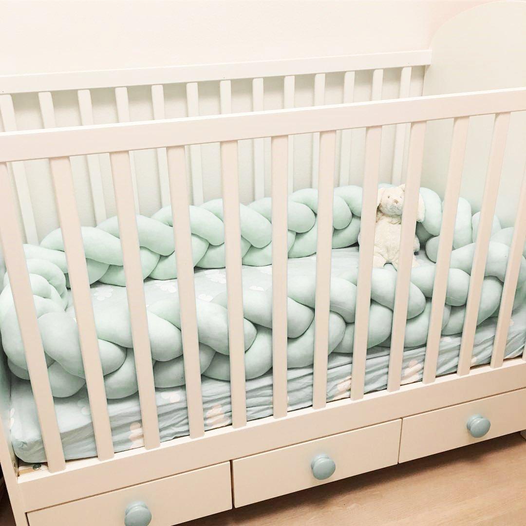 3 Meters, White LOAOL Baby Crib Bumper Knotted Braided Plush Nursery Cradle Decor Newborn Gift Pillow Cushion Junior Bed Sleep Bumper