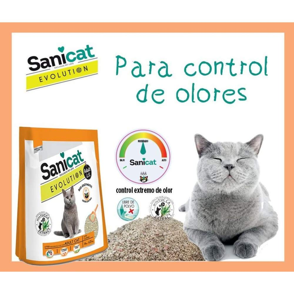 SANICAT Evolution Adult, Arena de Gato Aglomerante - 6L: Amazon.es: Productos para mascotas