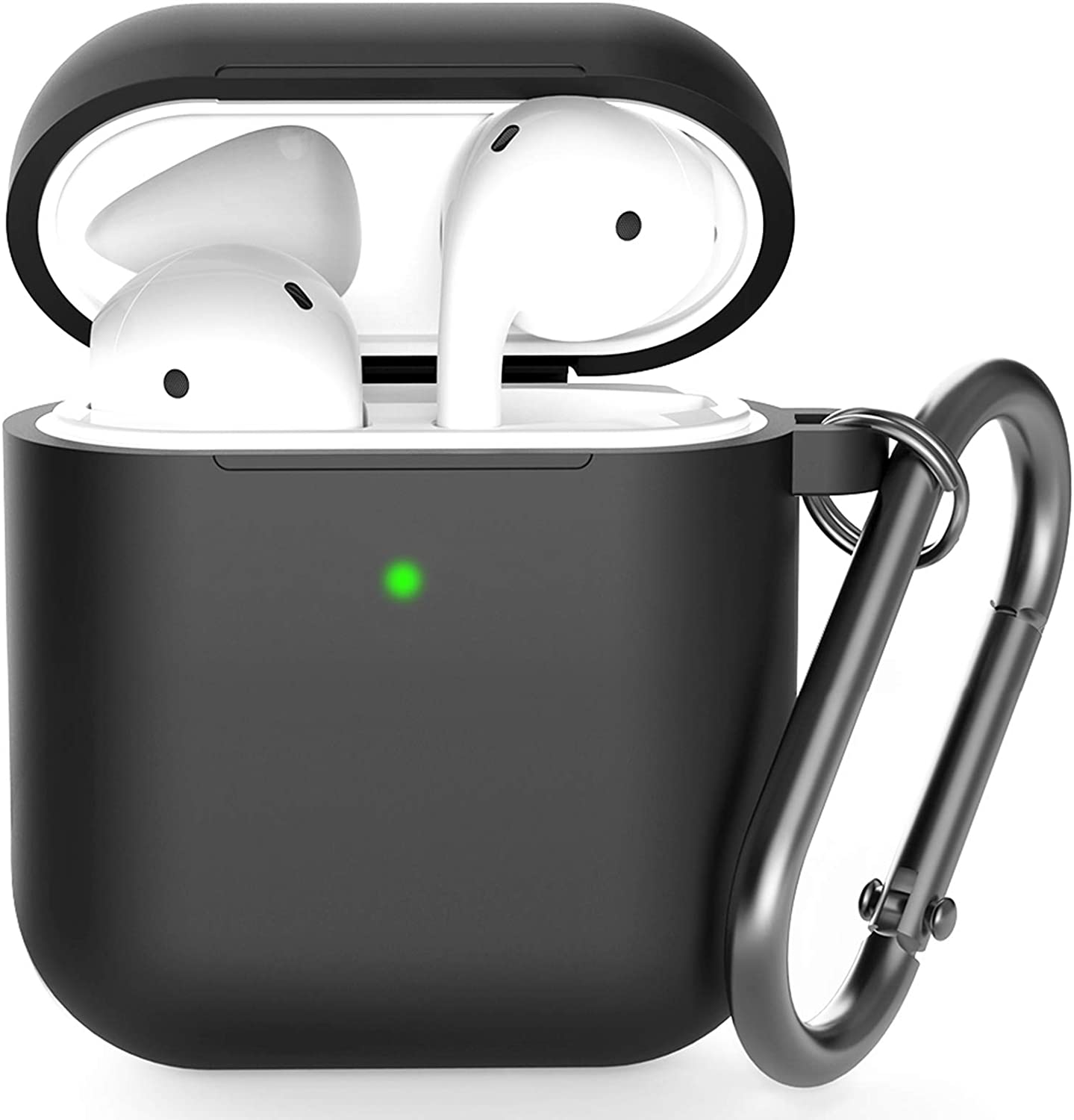 Airpods Case , BELONGME Airpods Silicone Case Cover with Keychain, 360°Protective AirPods Accessories Kits Shockproof Airpods Case Compatible with Apple Airpods 2 &1 (Front LED Visible) Black