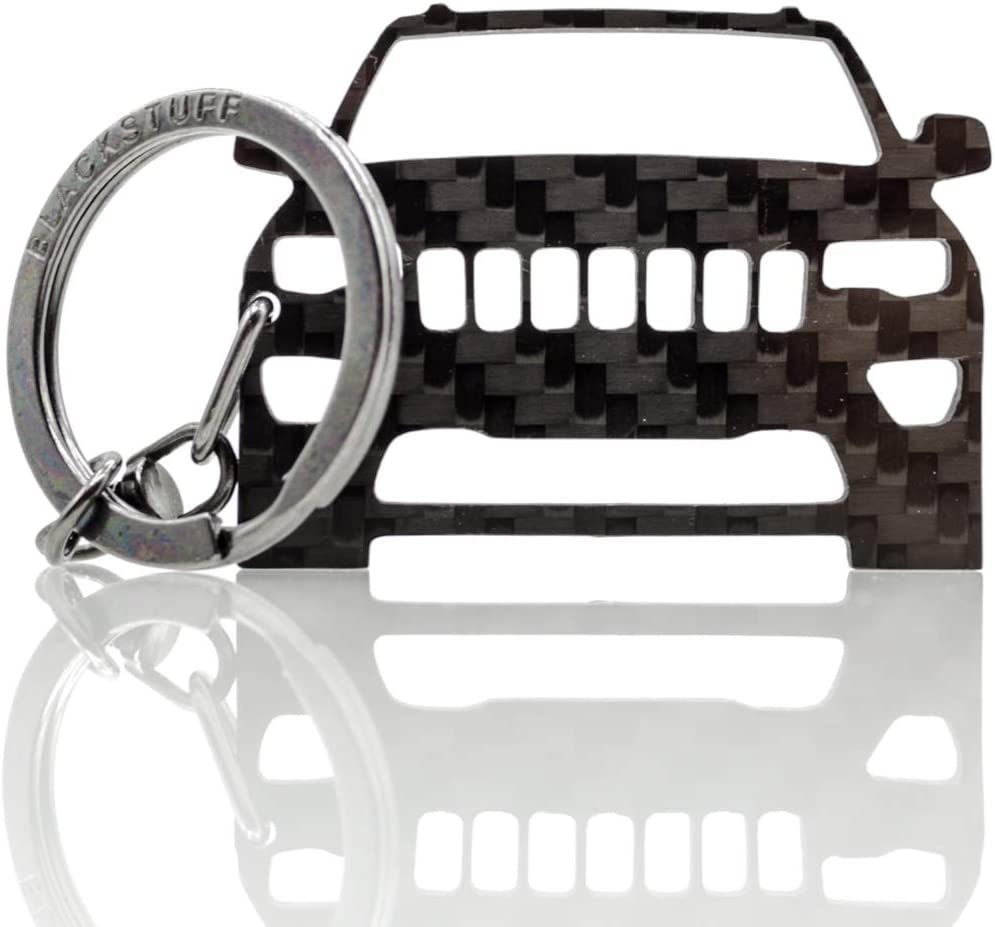 BlackStuff Carbon Fiber Keychain Keyring Ring Holder Compatible with Grand Cherokee 2014-2019 BS-620