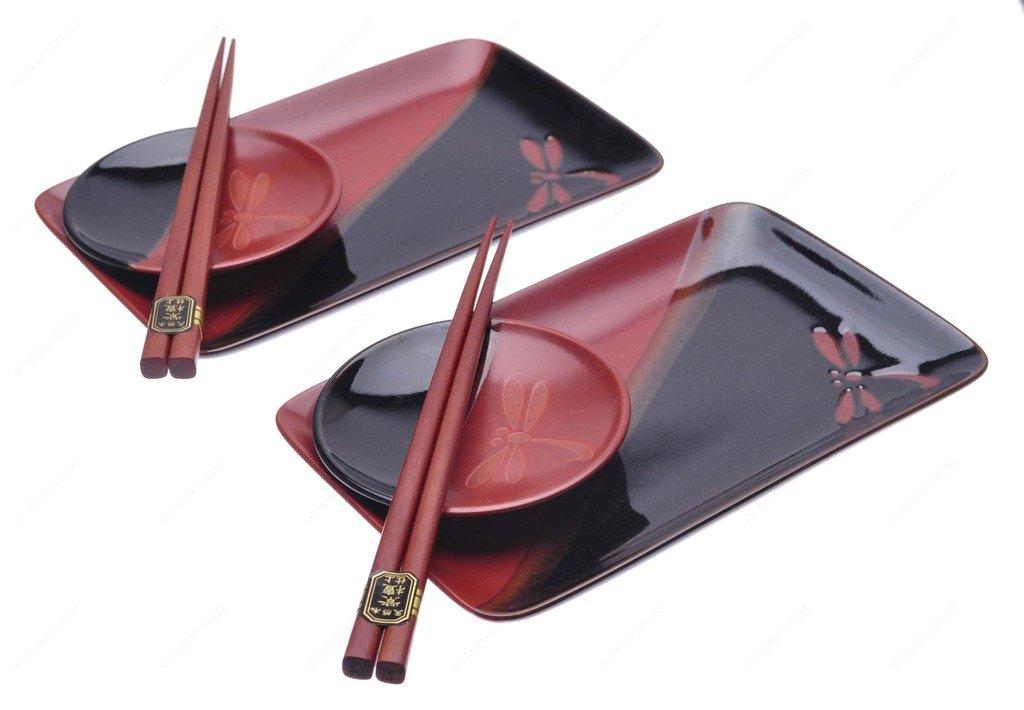 Kotobuki 161-681Suhi Set For Two, Black and Dark Red