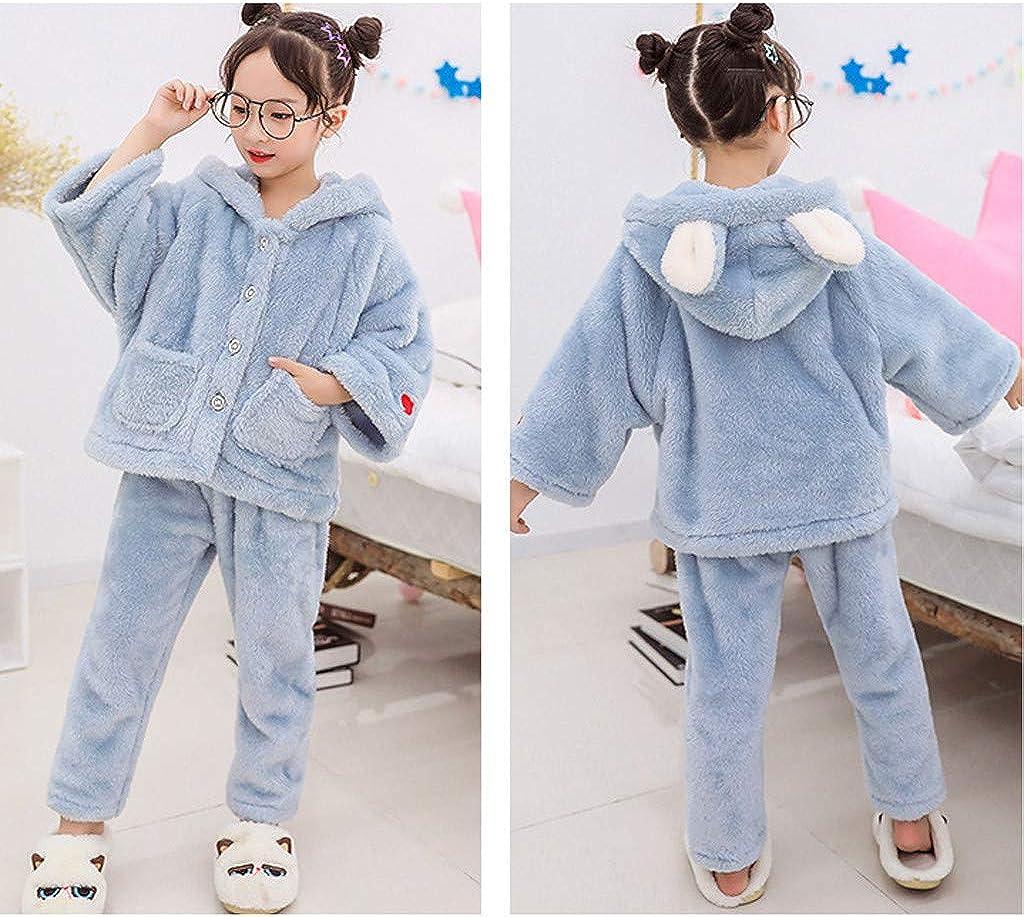 Shan-S Toddler Girls Winter Faux Fur Ear Hooded Coat Jacket Tops Pants Suit,Winter Childrens Thick Warm Long Sleeve Fleece Outwear Homewear