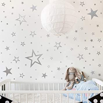 Mozamy Creative Star Wall Decals (146 Count) Silver Star Wall Decal Bedroom  Wall Decals Star Wall Stickers Removable Peel and Stick Wall Decals, ...