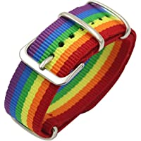 Nanafast Rainbow Nylon Watch Band Bracelet 18mm 20mm 22mm Colorful LGBT Pride Bracelet Adjustable Wristband for Men…