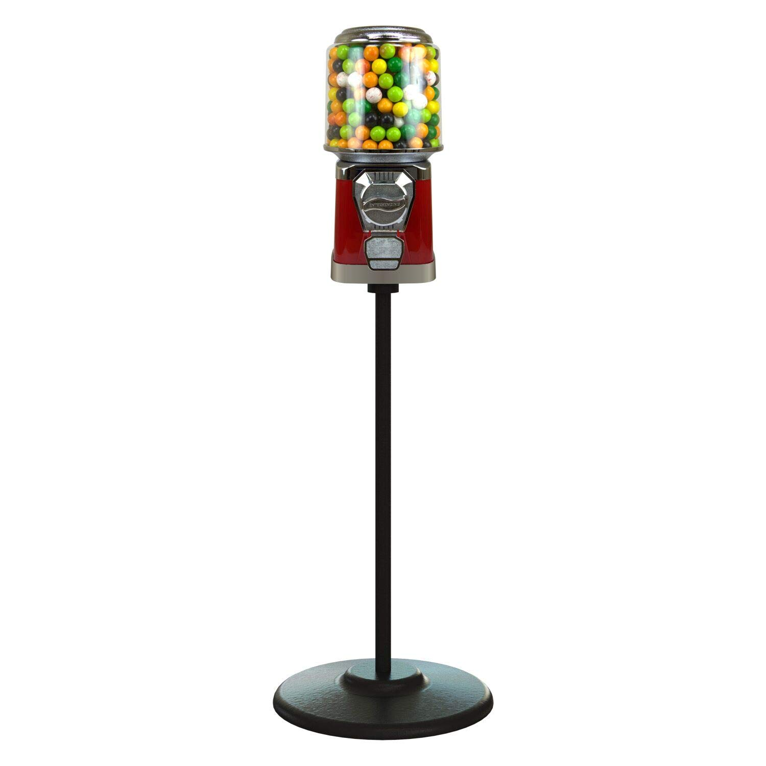 Gumball Machine with Stand - Red Home Vending Machine - Gum Ball Machine with Cylinder Bank - Bubble Gum Machine for Kids - Home Vending Machine - Coin Gumball Machine - Bubblegum Machine