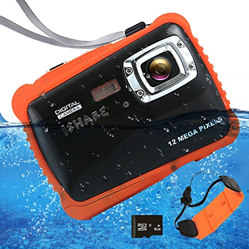Waterproof Digital Camera for Kids, ISHARE Kids Camera 12MP HD Underwater Action Camera Camcorder with 2.0'' LCD, 8X Digital Zoom, Flash and Mic for Girls/Boys (Black with Float Strap and 8G Card) … by iShare