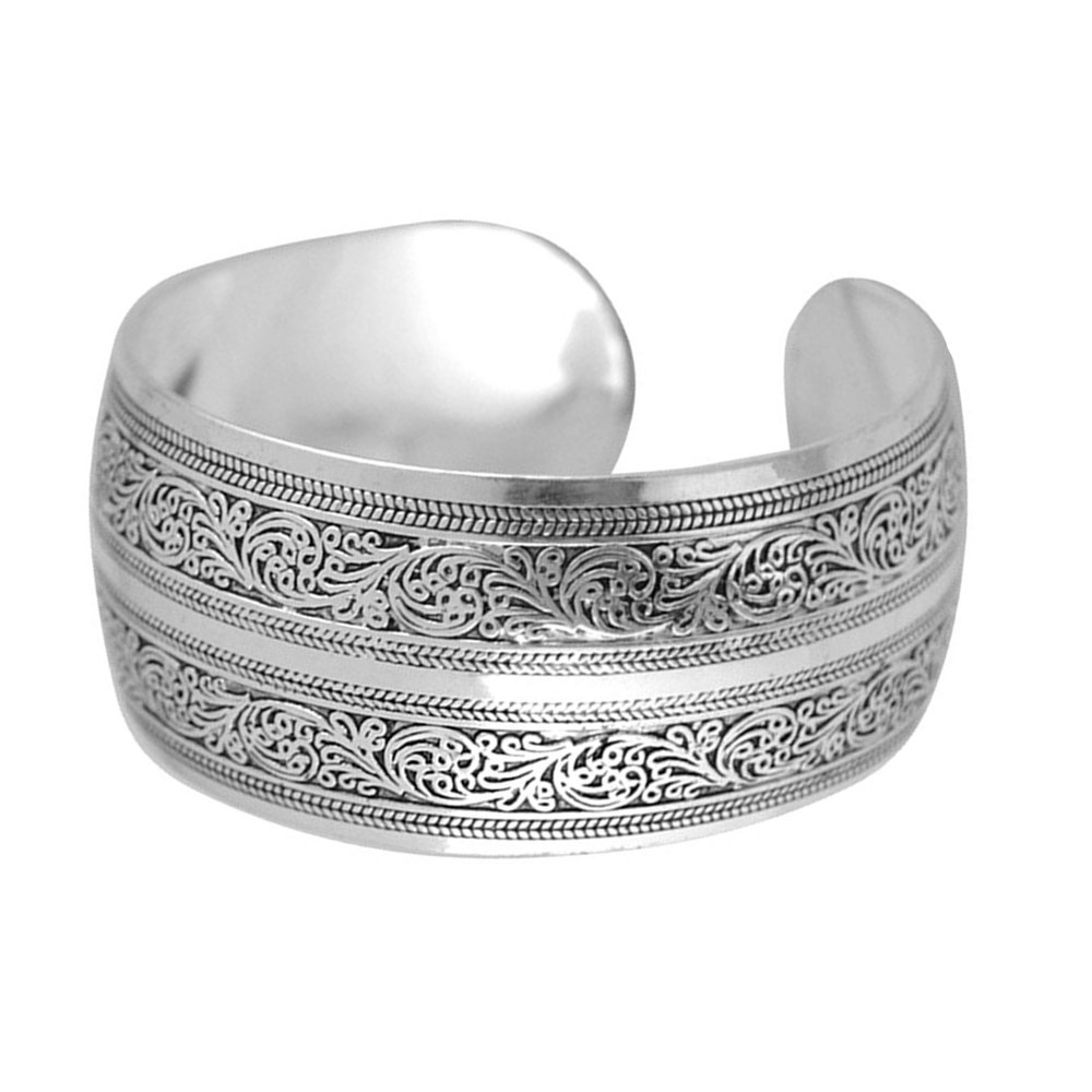 BODYA Unisex Tibeten Silver Carved spiral flower Connecting Branches Pattern wide band Open Cuff Bracelet Bangle adjustable JW1064