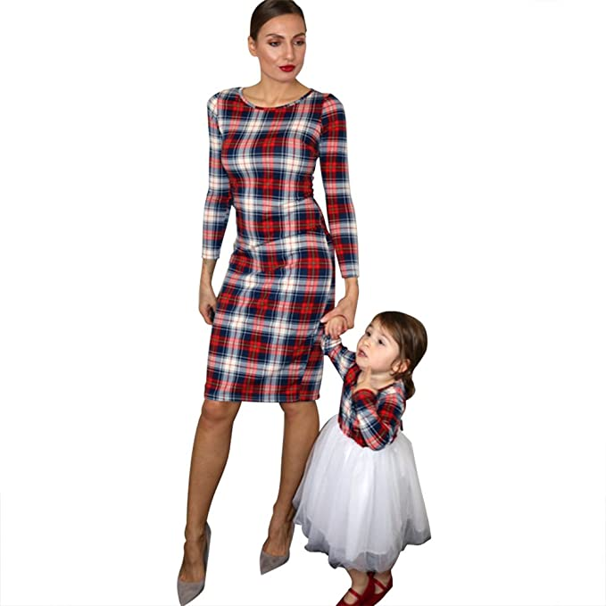 bbc65d44fc PopReal Mommy and Me Long Sleeve Plaid Tulle Dress Family Matching Clothes