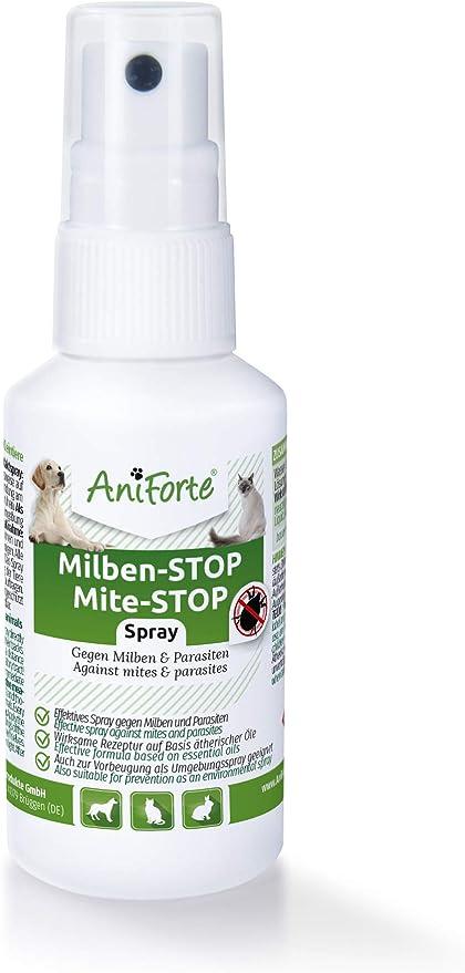 AniForte Spray antiácaros para Perros y Gatos 50 ml - Spray antiácaros para una Defensa eficaz contra Insectos y parásitos. Protección contra infestación de ácaros: Amazon.es: Productos para mascotas