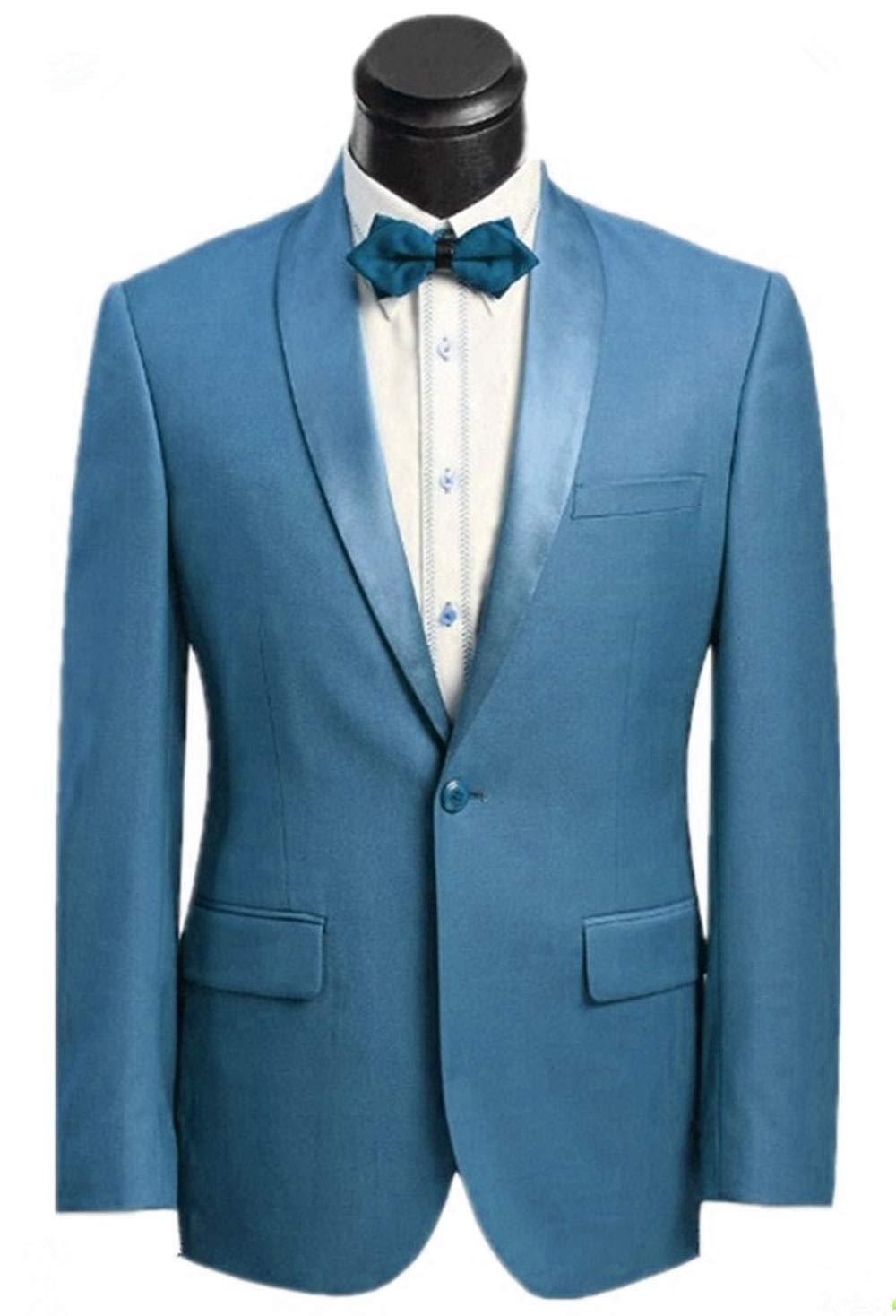 Suxiaoxi Men's 2 Pieces Shwal Lapel Tuxedo Suits Slim Fit(Blazer+Pants+Bow Tie)