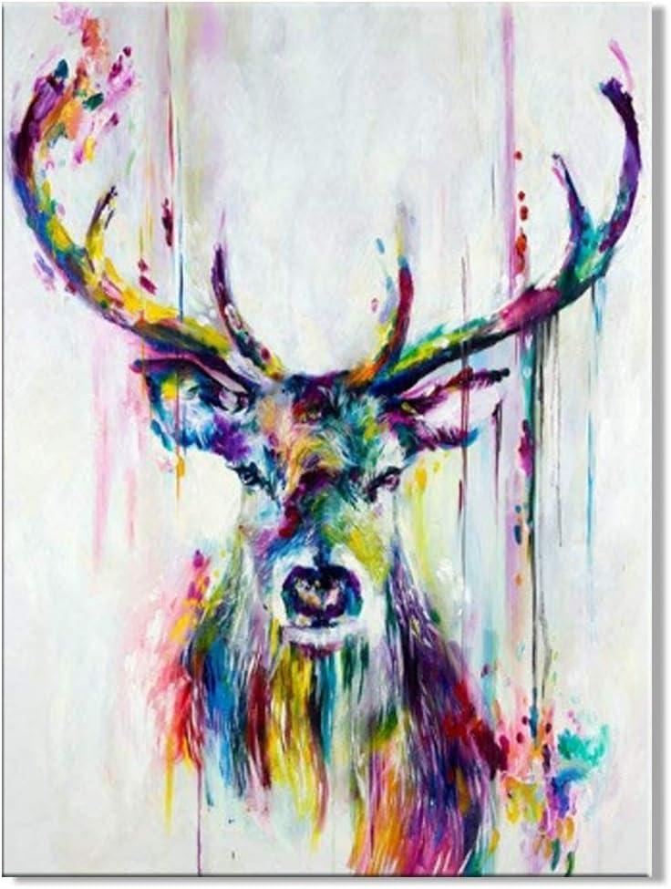 Amazon Com Osm Art Beautiful Stag Color Oil Painting On Canvas Modern Decorative Handmade Deer Canvas Painting For Wall Decorative Paintings