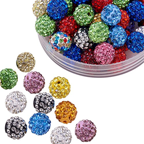 Pandahall 100 Pcs 10mm Mixed Color Shamballa Pave Disco Ball Clay Beads, Polymer Clay Rhinestone Beads Round Charms Jewelry Makings (Glass Bead Cuff)