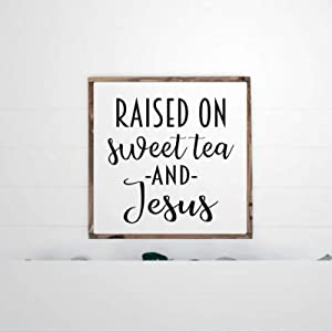 DONL9BAUER Framed Wooden Sign Raised On Sweet Tea and Jesus Wall Hanging Southern Sayings Funny Farmhouse Home Decor Wall Art for Living Room