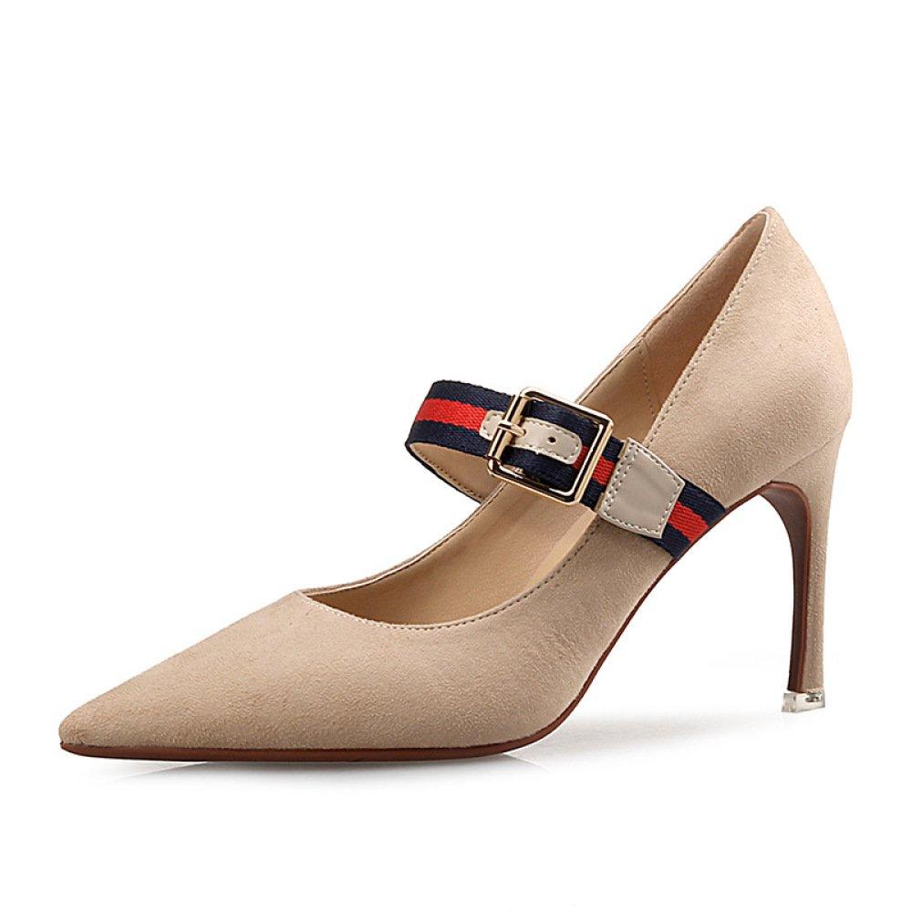 PPFME Damenmode Wildleder Sandalen Sexy High Heels Arbeiten Hochzeitspumpen Damen Klassische Spitz Schuhe