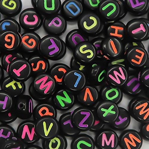 TOAOB 800Pcs 7mm Black Colorful Round Acrylic Beads for DIY]()