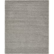 A2Z Rug Cozy Shaggy Collection 8x10-Feet Solid Area Rug - Cloud Gray