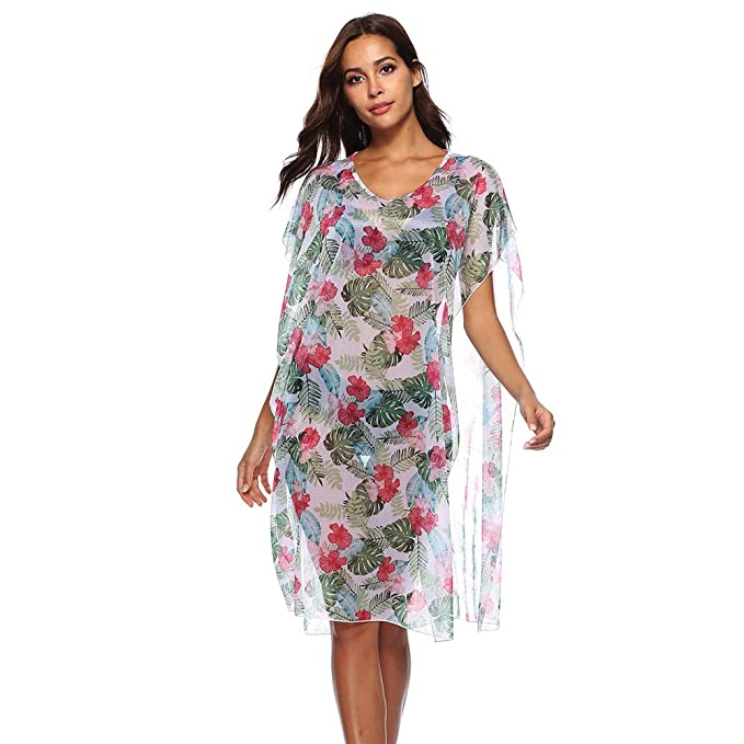36185651ea Buockipo Women's Cover-ups Swimsuit Beach Bikini Loose Casual Loose Dress  Casual Floral Short Sleeve