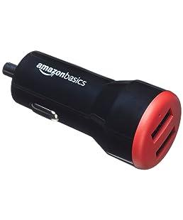 AmazonBasics - Cargador de coche, de 4,8 A / 24 W, 2 puertos USB, para dispositivos Apple y Android, Negro / Rojo