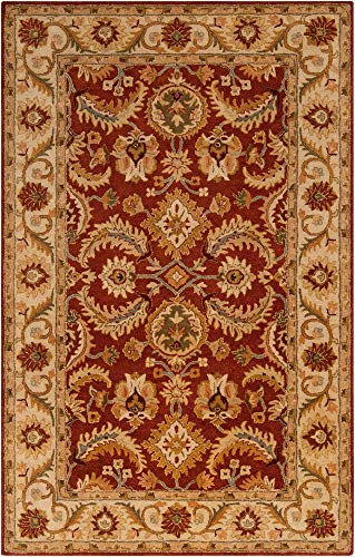- Surya Ancient Treasures 9' x 13' Hand Tufted Wool Rug in Red