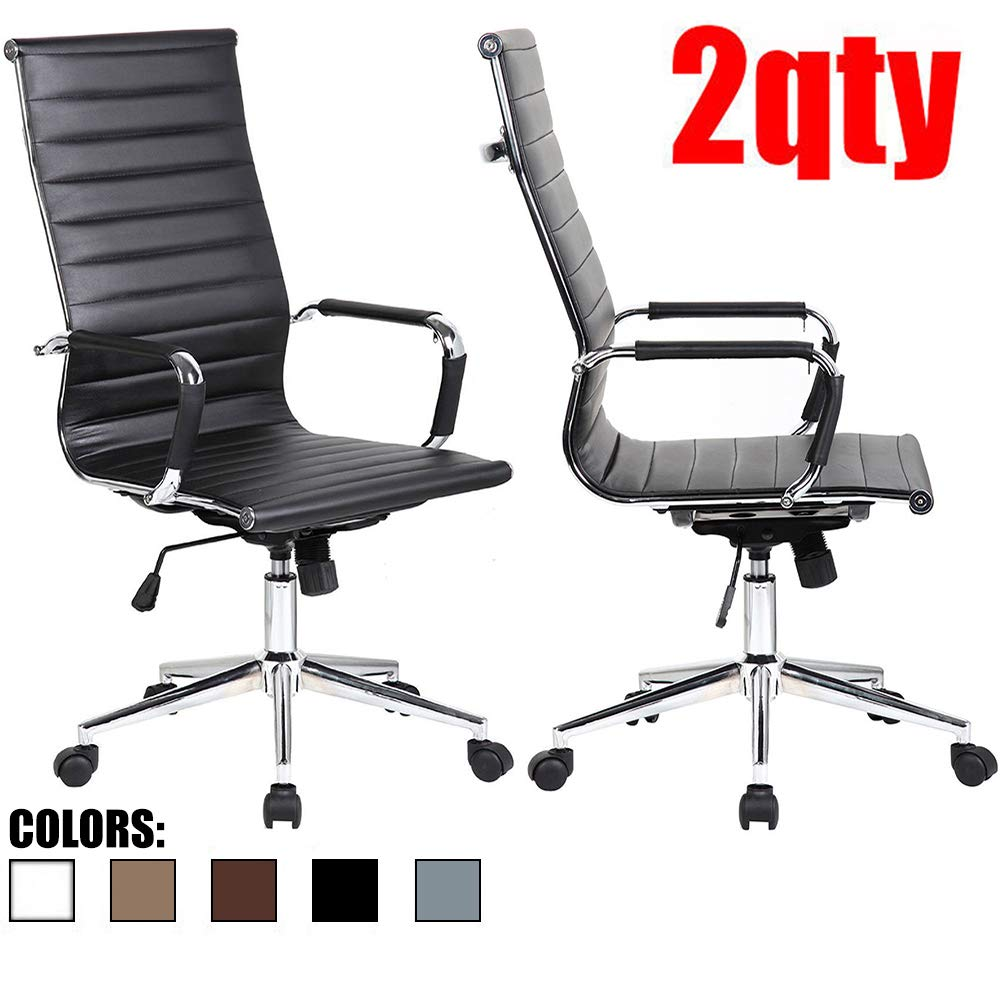 2xhome Set of 2 Black Modern High Back Ribbed PU Leather Tilt Adjustable Office Chair with Wheels Arm Rests Comfortable Desk Executive Mid Century Designer Desk