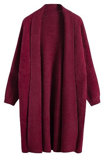 Vogueearth Fashion Mujer's Largo Manga Loose Knit Jersey Sudaderas Suéter Largo Abrigo Chaqueta Card...